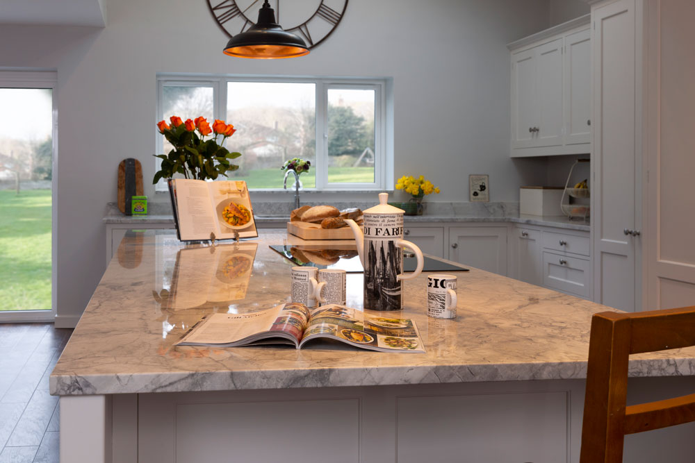 Bianca Eclipsia Quartzite (cabinetry by Dual Designs)