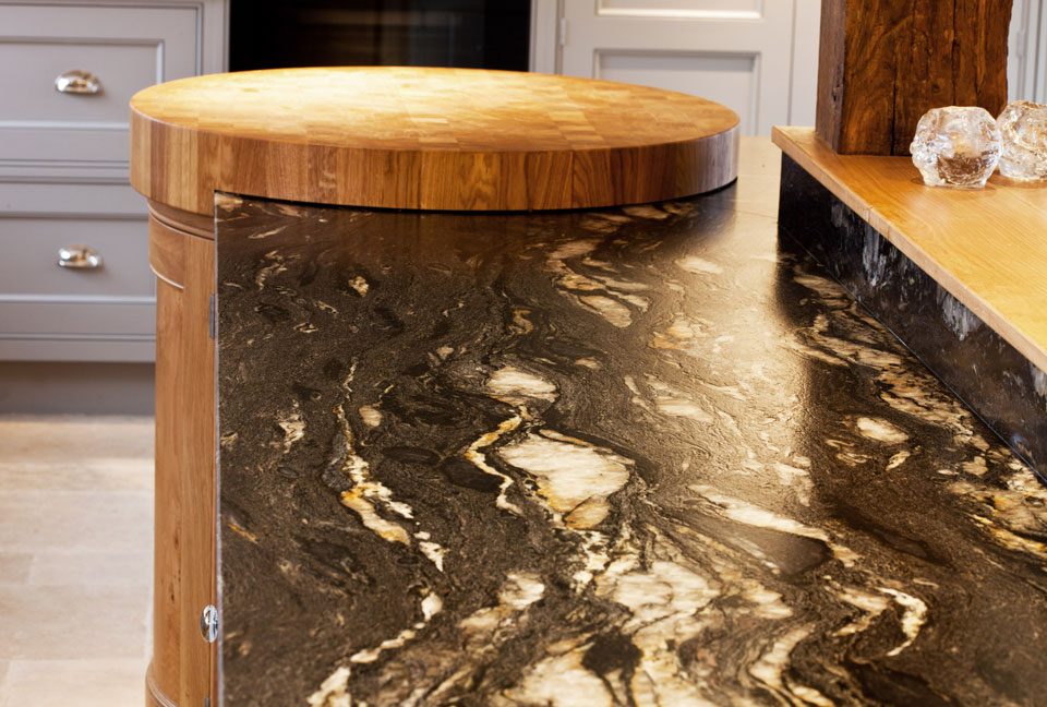 Cosmic Black Leather Granite (cabinetry by Grand Union Designs Ltd)