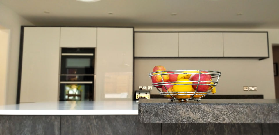 Silestone Blanco Zeus & Steel Grey Satinato Granite (cabinetry by Kandu Interiors)