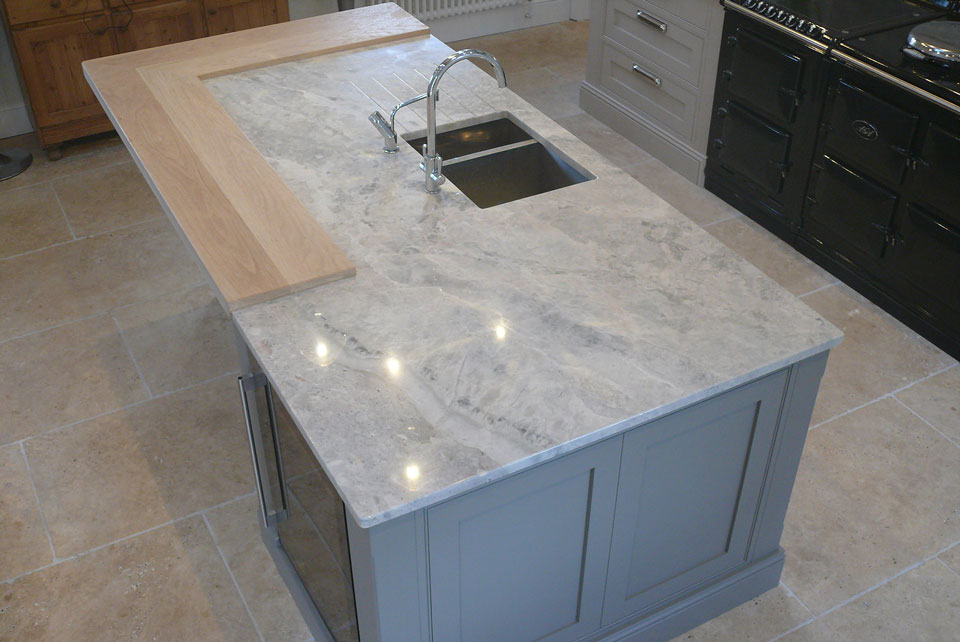 Moon White Quartzite (cabinetry by Darwin Kitchens)