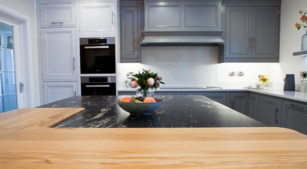 Silestone Lagoon & Cosmic Black Leather Granite